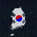 South Korea map flag on hex code illustration. Retro 8 bit pixellated South Korea map flag on hex code illustration Stock Images