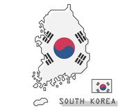 South korea map and flag . Modern simple line cartoon design . Vector royalty free illustration