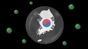 South Korea map inside with flag in crystal ball protect from corona or covid-19 virus, lock down South Korea ,virus protection co