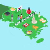 South Korea map, isometric 3d style Stock Photo