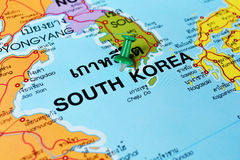 South korea map. Macro shot of south korea map with push pin stock photography