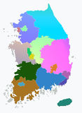 South korea Map. And region on white background stock photo