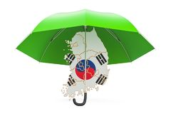 South Korea map under umbrella. Security and protect or insuranc Stock Photo