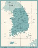 South Korea Map - Vintage Vector Illustration. South Korea Map - Vintage Detailed Vector Illustration Royalty Free Stock Photo
