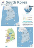 South Korea maps with markers. Set of the political South Korea maps, markers and symbols for infographic Royalty Free Stock Photography