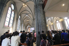 South Korea Myeongdong Cathedral in Seoul. Myeongdong Cathedral is a prominent Roman Catholic church in the Myeongdong district of Seoul, South Korea, and the Stock Photography