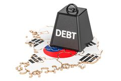 South Korea national debt or budget deficit, financial crisis co. Ncept, 3D Stock Photography