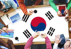 South Korea National Flag Business Team Meeting Concept Stock Images