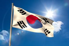 South korea national flag on flagpole Royalty Free Stock Photography