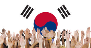 South Korea National Flag Group of People Concept Royalty Free Stock Photography