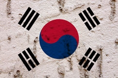 South Korea National Flag On Grunge Wall Background stock photo