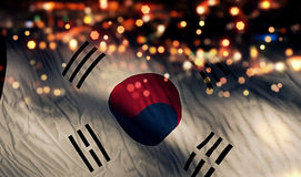South Korea National Flag Light Night Bokeh Abstract Background Royalty Free Stock Photography