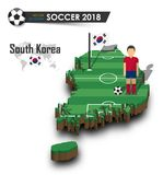 South korea national soccer team . Football player and flag on 3d design country map . isolated background . Vector for internatio. Nal world championship Stock Photos