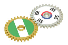 South Korea and Nigeria relations concept, flags on a gears. 3D Stock Photography