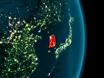 South Korea at night. Illustration of South Korea as seen from Earth's orbit at night. 3D illustration. Elements of this image furnished by NASA Stock Photo