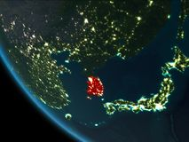 South Korea at night from orbit. South Korea from orbit of planet Earth at night with highly detailed surface textures. 3D illustration. Elements of this image Royalty Free Stock Photo
