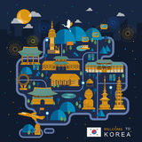 South Korea night travel map Royalty Free Stock Image