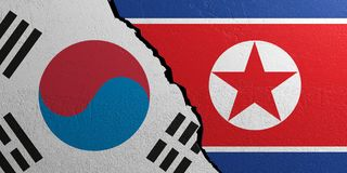 South Korea and North Korea flag, plastered wall background. 3d illustration Royalty Free Stock Image