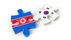 South Korea and North Korea flags on puzzle pieces. Political re Royalty Free Stock Photos