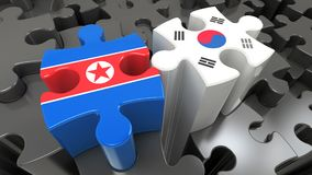 South Korea and North Korea flags on puzzle pieces. Political relationship concept. 3D rendering vector illustration