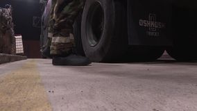 SOUTH KOREA, NOVEMBER 2015, A Soldier Takes Cotters Away Oskosh R-11 Mobile Tanker Truck stock footage
