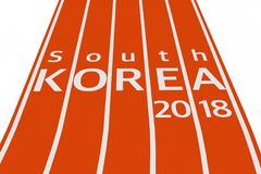 2018 South Korea Olympic Winter Games Sign over Running Track. 3. 2018 South Korea Olympic Winter Games Sign over Running Track on a white background. 3d Stock Photography