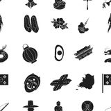 South Korea pattern icons in black style. Big collection of South Korea vector symbol stock illustration Royalty Free Stock Photography