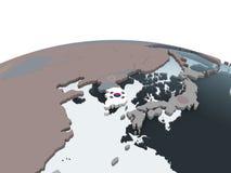 South Korea with flag on globe. South Korea on political globe with embedded flag. 3D illustration stock illustration