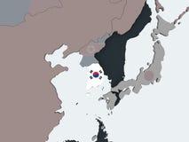 South Korea with flag on globe. South Korea on political globe with embedded flag. 3D illustration vector illustration