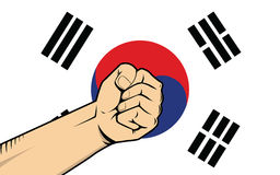 South korea protest fight against a war illustration with flag as background and hand Stock Photo