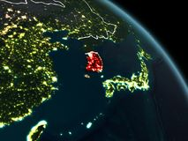South Korea in red at night. South Korea from orbit of planet Earth at night with visible borderlines and city lights. 3D illustration. Elements of this image Stock Photos
