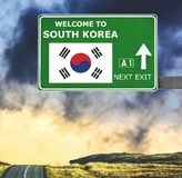 South Korea road sign against clear blue sky. Solomon Islands road sign against clear blue sky royalty free stock image