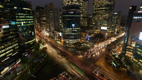 South Korea Seoul Gangnam night busy intersection stock video footage