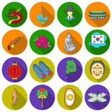 South Korea set icons in flat style. Big collection South Korea vector symbol stock illustration Stock Photography