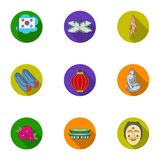 South Korea set icons in flat style. Big collection of South Korea vector symbol stock illustration Royalty Free Stock Image