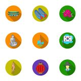 South Korea set icons in flat style. Big collection of South Korea vector symbol stock illustration Royalty Free Stock Photo