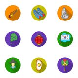 South Korea set icons in flat style. Big collection of South Korea vector symbol stock illustration Royalty Free Stock Photography