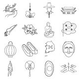 South Korea set icons in outline style. Big collection of South Korea vector illustration symbol. Stock Images