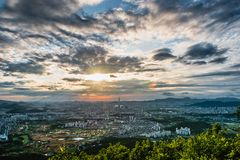 South Korea skyline of Seoul, The best view of South Korea with Lotte world mall at Namhansanseong Fortress. Stock Image