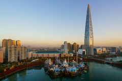 South Korea skyline of Seoul, The best view of South Korea with. Lotte world mall at Jamsil in Seoul Stock Photos