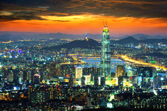 South Korea skyline of Seoul, The best view of South Korea. South Korea skyline of Seoul, The best view of South Korea with Lotte world mall at Namhansanseong stock image