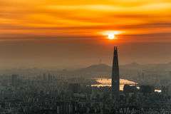 South Korea skyline of Seoul, The best view of South Korea with Lotte world mall at Namhansanseong Fortress Royalty Free Stock Photography