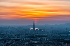 South Korea skyline of Seoul, The best view of South Korea with Lotte world mall at Namhansanseong Fortress Stock Images
