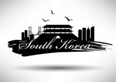 South Korea Skyline with Typography Design vector illustration