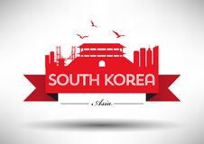 South Korea Skyline with Typography Design stock illustration