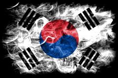 South Korea smoke flag on a black background.  stock photos