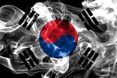 South Korea smoke flag on a black background.  stock photography