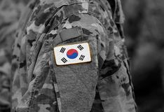 South Korea on soldiers arm collage royalty free stock photography