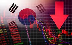 South Korea Stock Exchange market crisis red market price down chart fall Business and finance money crisis red negative drop in stock illustration