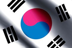 South Korea. Stylish waving and closeup flag illustration. Perfect for background or texture purposes stock illustration